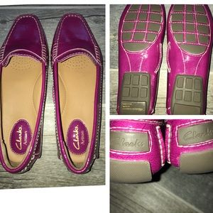 New CLARKS artisan hot pink slip on shoes 7.5